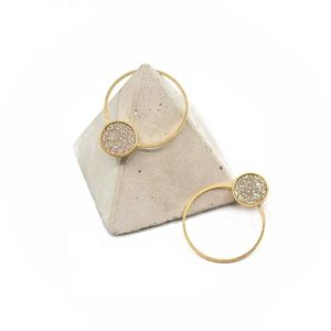 Gold Post Earrings with Silver Sparkle Center